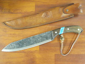 Condor Blue River Machete, Walnut Wood Handle w/ Reconstituted Turquoise Stone Inlay, Leather Sheath