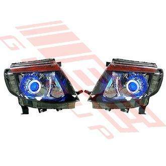 HEADLAMP SET - L&R - BLACK - REPLACEMENT PART FOR FORD RANGER 2012-