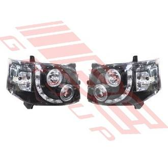 HEADLAMP SET - L&R - JDM BLACK - PROJECTOR - DRL LOOK - TO SUIT TOYOTA HIACE 2010-  F/LIFT