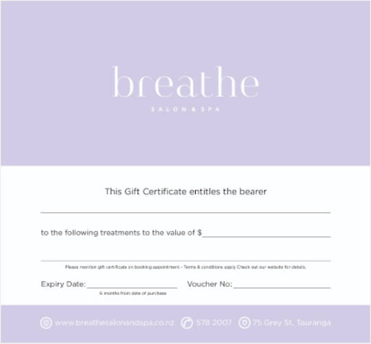 Breathe Salon & Spa Gift Voucher $50