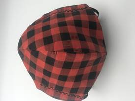 Classic Red and Black Check with Black Polka Dots on Reverse Side - Reversible Limited Edition Face Mask