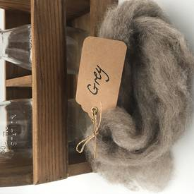 Carded Grey Wool (300 Gram Bags)