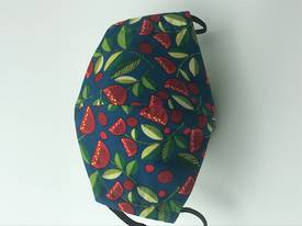 Forest Song - Puhutukawa with White Polka Dots on Lime on Reverse Side - Reversible Reusable Limited Edition Face Mask