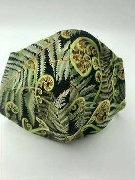 Koru Frond with White on Green Polka Dots on Reverse Side - Reversible Limited Edition Face Mask