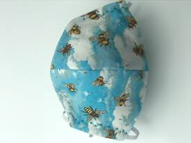 Bees with Clouds with White Polka Dots on Light Blue on Reverse Side - Reversible Limited Edition Face Mask