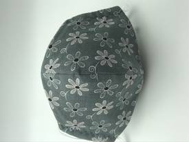 Grey Flowers with White on Grey Polka Dots on Reverse Side - Reversible Limited Edition Face Mask