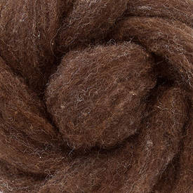 Carded Dark Brown Wool Suitable for Felting or Toy Stuffing