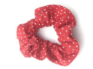 Red with White Dots Cotton Scrunchie