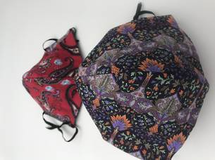 Mauve and Orange Pattern with Red Paisley - Reversible Limited Edition Face Mask