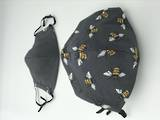 Bee on Grey with Plain Grey Reverse Side - Reversible Limited Edition Face Mask