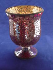 Red Mosaic Hurricane candle holder