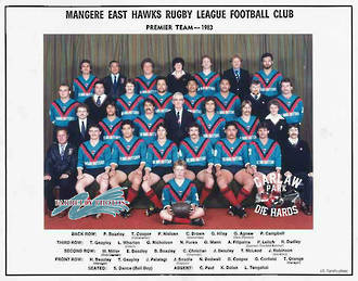 Mangere East Hawks Rugby League Premiers Team 1983