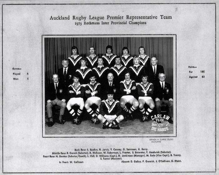 Auckland Rugby League Premier Team 1973