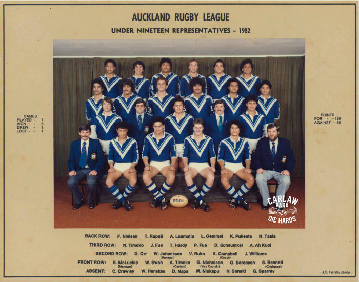 Auckland Rugby League U19 Team 1982