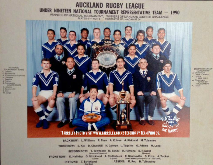 Auckland Rugby League U19 Team 1990(copy)