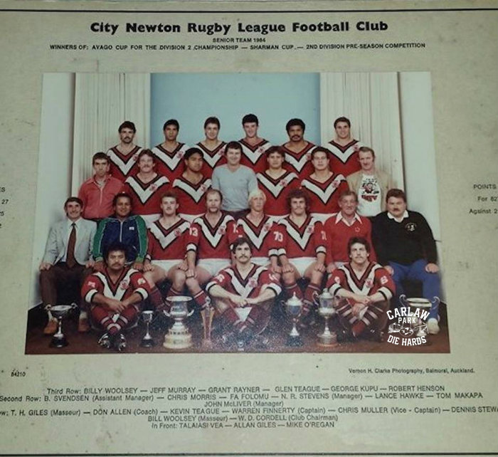 City Newton Rugby League Senior Team 1984 Winners Sharman Cup