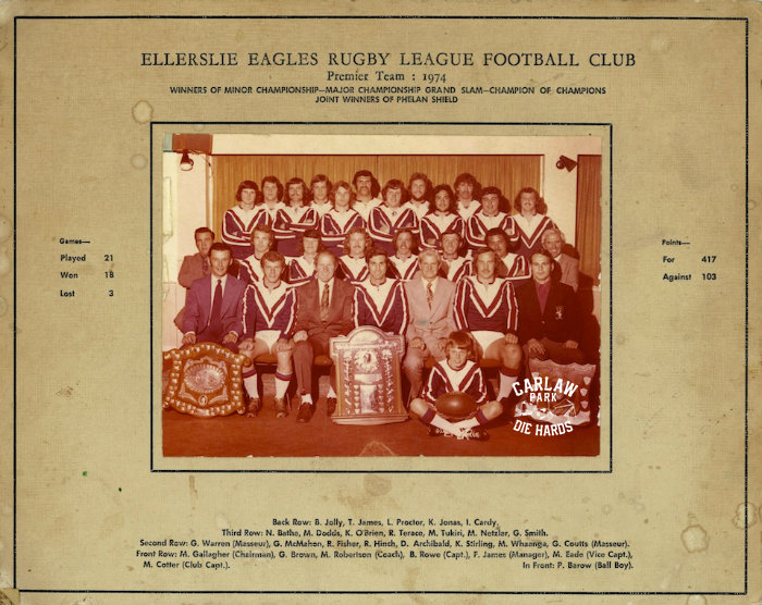Ellerslie Eagles Rugby League Premier Team 1974