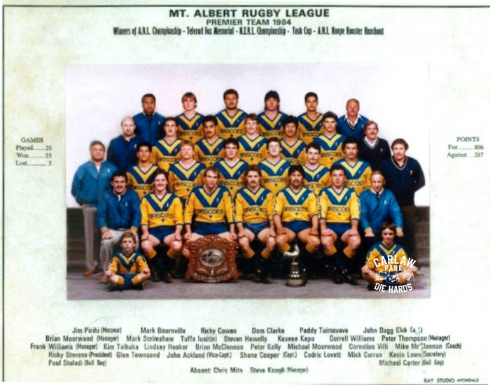 Mt Albert Rugby League Premier Team 1984