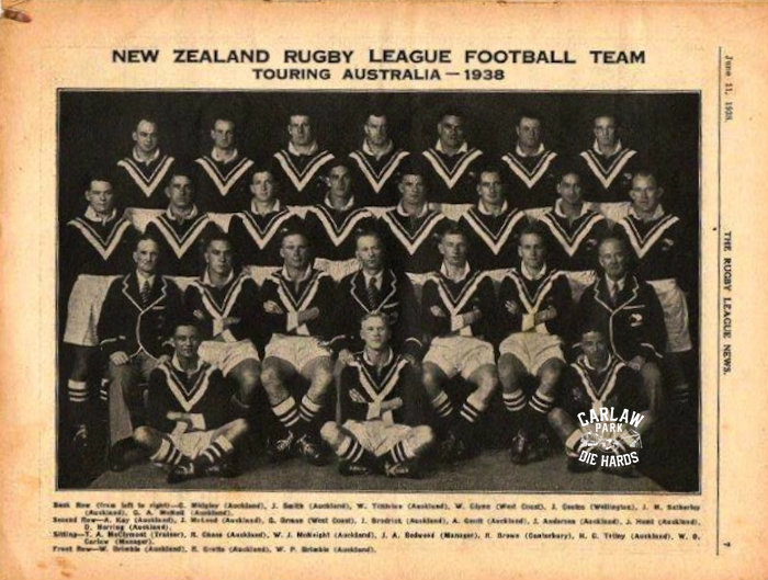 New Zealand Rugby League Team Tour Aus 1938