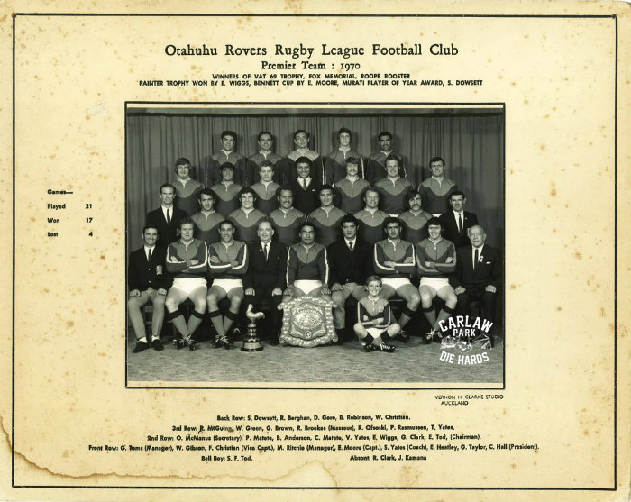 Otahuhu Rovers Rugby League Premier Team 1970