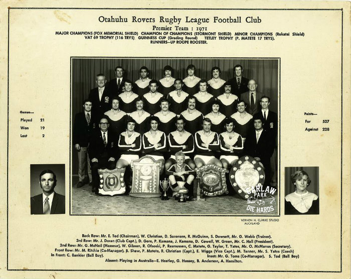 Otahuhu Rovers Rugby League Premier Team 1971