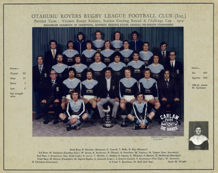 Otahuhu Rovers Rugby League Premier Team 1974