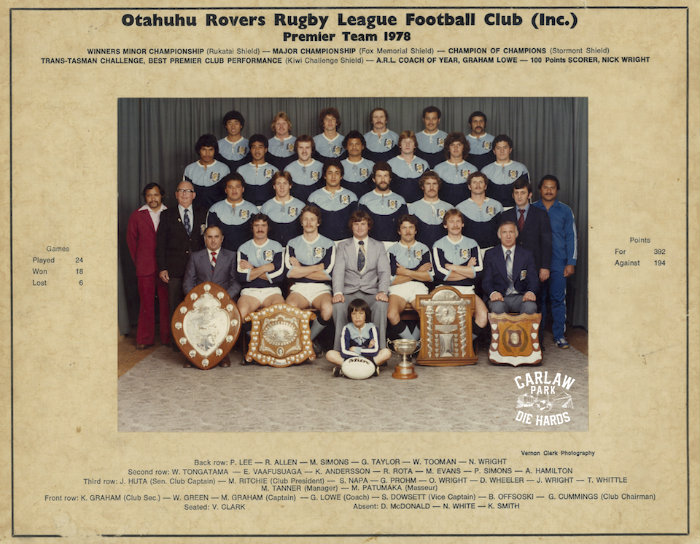 Otahuhu Rovers Rugby League Premier Team 1978