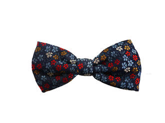 Navy flower Pre-tied Bow