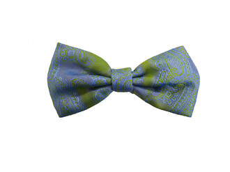Blue green paisley Pre-tied Bow