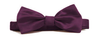 Purple Italian Satin Pre-tied bow
