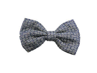 Blue & white silk Pre-tied Bow