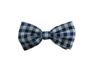 Blue check Pre-tied Bow