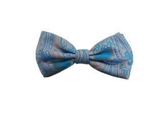 Blue grey paisley Pre-tied Bow