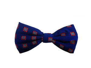Blue with red square Pre-tied Bow