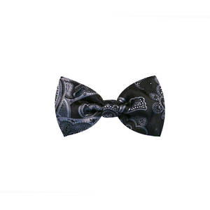 Charcoal Paisley Pre-tied Bow