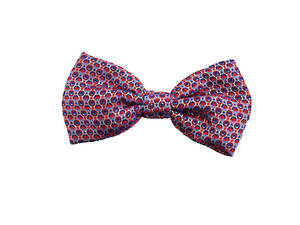 Blue and red circle Pre-tied Bow