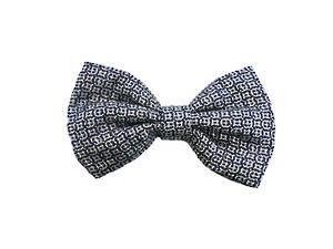 Blue & white silk Pre-tied Bow