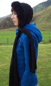 Possum Fur Trim 2m Merino Hooded Scarf