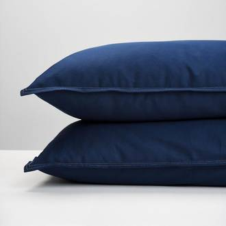 Navy Cotton Drill Pillowcases