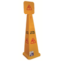 LARGE PYRAMID CAUTION WET FLOOR SIGN 1170MM X 320MM X320MM - EDGAR