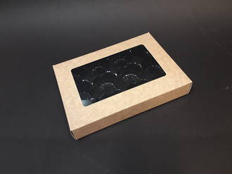 12 Mince Tart Box + Insert - Grease Coated Board - LIMITED STOCK