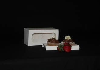 Double Cupcake White Box with window