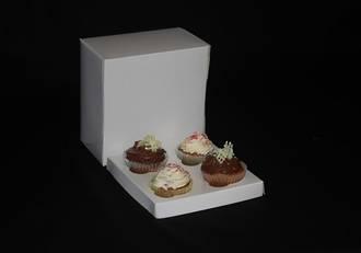 "4 - Cupcake White Box 60mm Standard Insert - 7 x 7 x 4"""