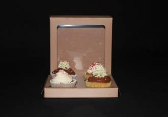 "4 - Cupcake Eco Window Box 60mm Standard Insert - 7 x 7 x 4"""