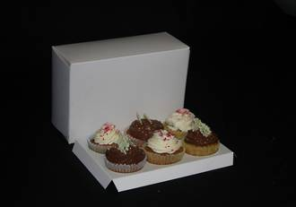 6- OBLONG Cupcake White Box - 60mm Diameter Standard Hole Insert.