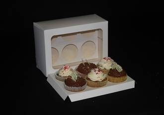 6- OBLONG Cupcake White Window Box -  60mm Diameter Standard Hole Insert