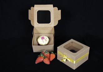 Single Special Occasion Cupcake Eco Window Box - 60mm Diameter Standard Hole Insert