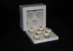 "6 - Mini Cupcake White Window Box 40mm Mini Insert - 6 x 6 x 3"""