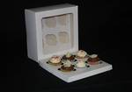 6 - Cupcake White Window Box 60mm Standard Insert - 10 x 10 x 4""