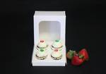 4 - Mini Special Occasion Cupcake White Window Box - 40mm Diameter Mini Hole Insert